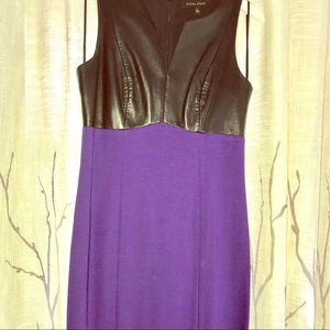 Cynthia Steffe fitted dress with leather upper.
